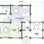 Сруб дома 102 м2 план первого этажа