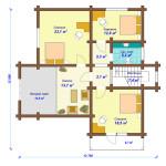 Сруб дома 258 м2 план первого этажа