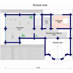 Сруб дома 318 м2 план второго этажа
