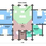 Сруб дома 345 м2 план второго этажа