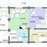 Сруб дома 113 м2 план первого этажа