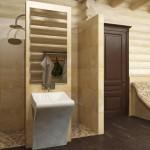 отделка ванной сруба дома 105 м2