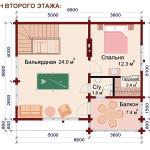 проект дом-бани 100 м2 - второй этаж
