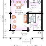 проект сруба дома 115 м2 - первый этаж