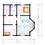 Проект сруба дома 186 м2 - план второго этажа
