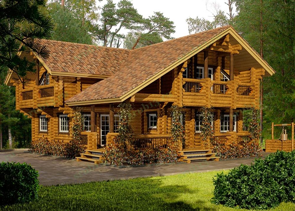 Дом из бревна 218 м2 — Альпийское шале
