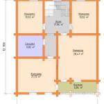 Сруб дома 242 м2 план второго этажа