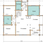Сруб дома 250 м2 план первого этажа