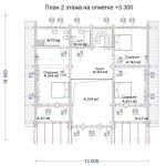 Сруб дома 260 м2 план второго этажа