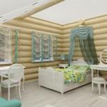 спальня сруба дома 105 м2