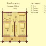 проект второго этажа сруба дома 112 м2