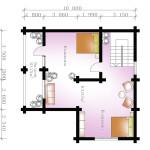 Сруб дома 142 м2 план второго этажа