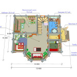 Сруб дома 175 м2 план первого этажа