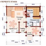 проект дом-бани 100 м2 - первый этаж