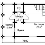 Дом из оцилиндрованного бревна 70 м2 - план первого этажа