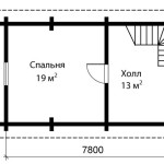 Дом из оцилиндрованного бревна 70 м2 - план второго этажа