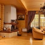 Сруб дома 186 м2 - отделка гостиной