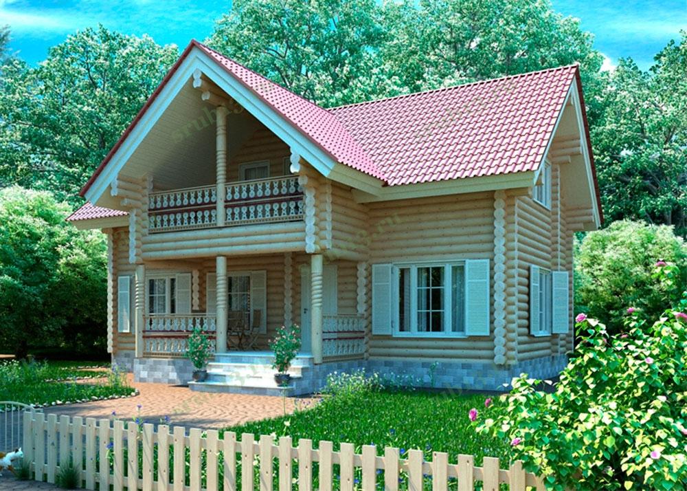 Сруб дома из бревна 159 м2 — Скандинавия