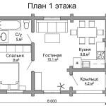 Сруб дома из оцилиндрованного бревна 43 м2 - проект